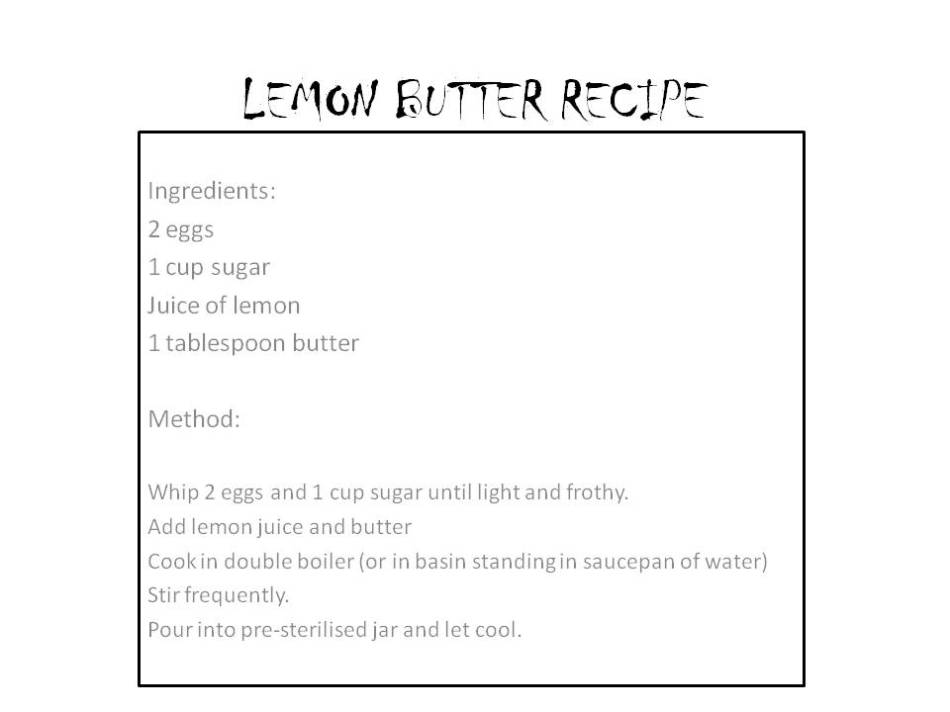 LEMON BUTTER RECIPE
